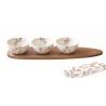 Porcelán tálka szett kanállal 3db-os,bambusztálcan 40x10cm - Sakura