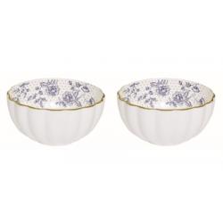 Porcelán tálka szett 2db-os 12cm Blue Peonies