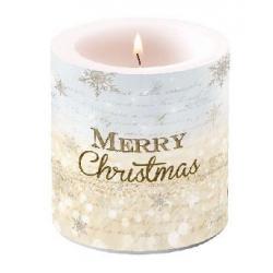 Átvilágítós gyertya kicsi, 8x7,5cm - Merry Christmas