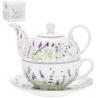 Porcelán egyszemélyes teáskészlet ,  Levendulás
