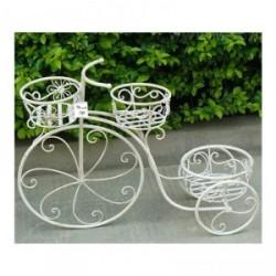 Antik fehér sokcserepes virágtartó bicikli