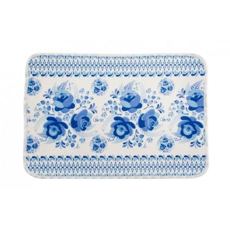 Fürdőszoba szőnyeg 60x40cm, kék virágos