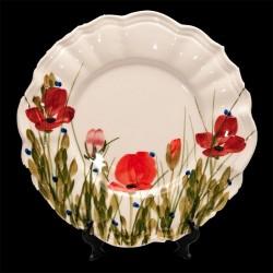 Kerámia desszert tányér - Vanilia Kerámia / Pipacsos,kézzel festett