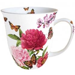 Porcelán bögre 0,4l - pillangós virágos