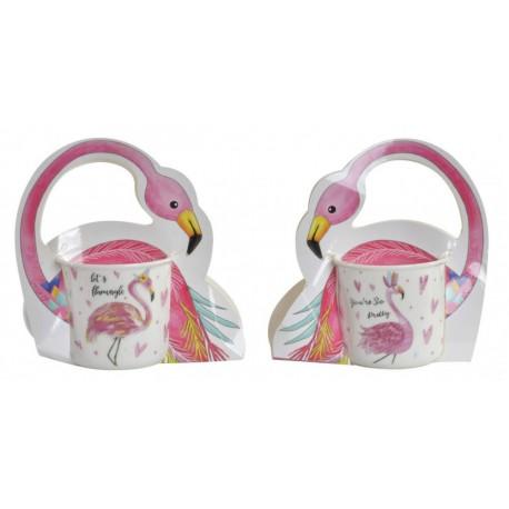 Porcelán bögre díszdobozban Flamingós