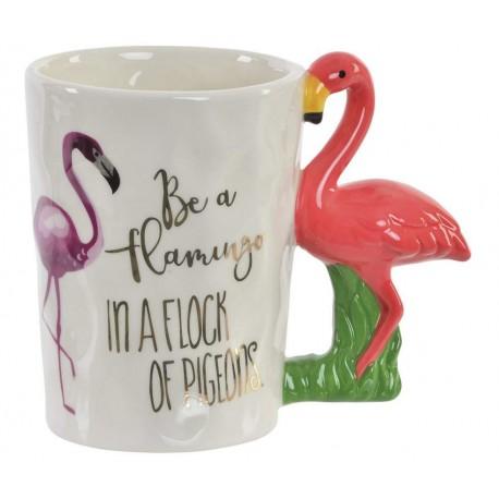 Porcelán bögre Flamingós füllel