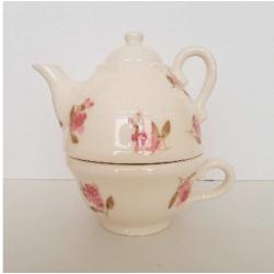 Kerámia egyszemélyes teáskanna csészével - Vanilia Kerámia-Violin apró rózsás