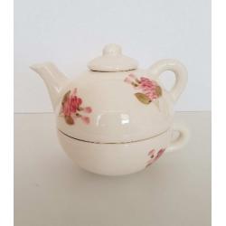 Kerámia egyszemélyes teáskanna csészével - Vanilia Kerámia-Romantik rózsás