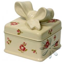 Kerámia doboz, kocka - Vanilia kerámia / Violin apró rózsás