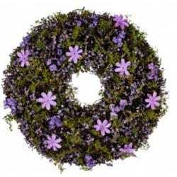 Ajtókopogtató lila virágos 30cm