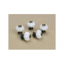 Fiók gomb szett 5db porcelán hatású fehér