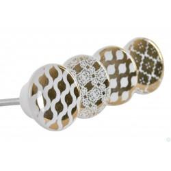 Ajtófogantyú kerámia kerek 4cm, fehér-arany minta