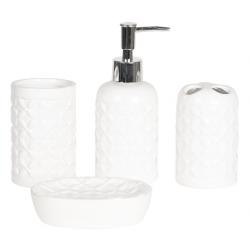 Fürdőszoba szett 4db-os fehér dombornyomott
