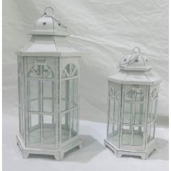 Lantern szett 2db  fém  Fehér