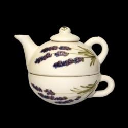 Kerámia egyszemélyes teáskanna csészével - Vanilia Kerámia-Violin levendulás