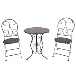 Kovácsoltvas asztal 2db székkel, antikolt fekete