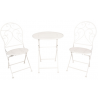 Kovácsoltvas asztal 2db székkel, antikolt fehér