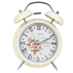 Ébresztő óra fém 12x15cm, krém rózsás