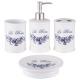 Fürdőszoba szett kerámia 4db-os kék rózsás