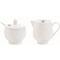 Porcelán tej/citrom kiöntő és cukortartó