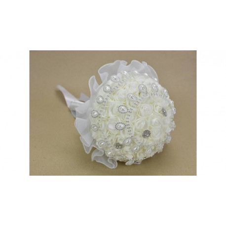 Esküvői csokor szatén rózsás girlandos