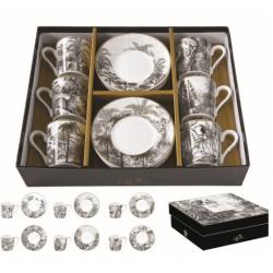 6 személyes porcelán kávéscsésze szett Retro Jungle