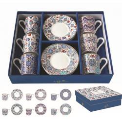 6 személyes porcelán kávéscsésze szett Kék virágos