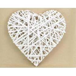 Fehér vessző szív fém vázon 40cm