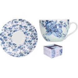 Porcelán teáscsésze+alj, 200ml, kék virágos