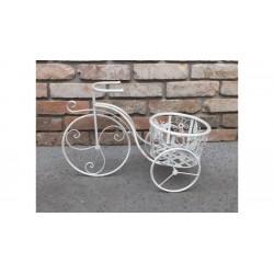 Virágtartó bicikli antikolt fehér