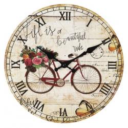 Fa Falióra 30cm Biciklis rózsás