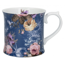 Porcelán bögre 4dl - kék virágos,madaras - Wild Apricity