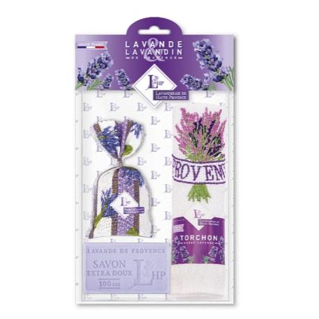 Lubéron Violet zsákos levendula 18gr+szappan 100gr+hímzett kéztörlő