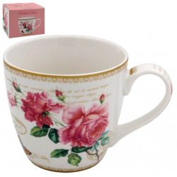 Porcelán bögre díszdobozban rózsás