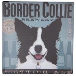 Fém falitábla Border Collie , 30x30cm