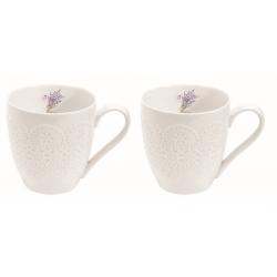 Porcelán teás bögre 2db-os szett levendulás