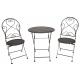 Antikolt fekete kovácsoltvas jellegű asztal 2 db székkel