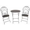 Antikolt fekete kovácsoltvas jellegű asztal 2db székkel