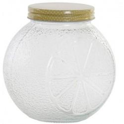 Tárolóüveg fém tetővel dombornyomott