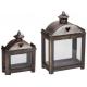 Antik fa lanternszett fém íves tetővel 2 db-os
