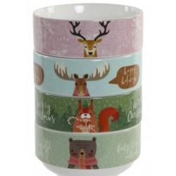 Porcelán müzlis tálka karácsonyi 4féle