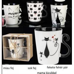 Porcelán bögre 350ml , macskás
