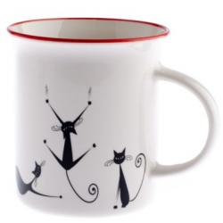 Porcelán bögre 310ml , ugráló macskás