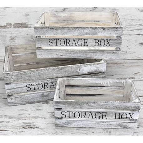 Fa rekesz storage box 3db-os