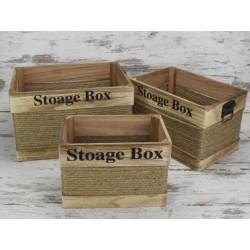 Fa láda szett Stoage box 3db-os