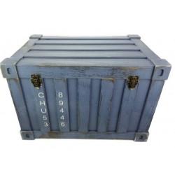 Fa láda kék konténer forma nagy