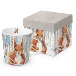 Porcelán bögre dobozban 3,5dl mókus