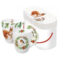 Porcelán bögre szett 3,5dl madaras mókusos