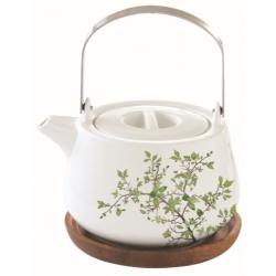 Porcelán teáskanna akácfa tálcán