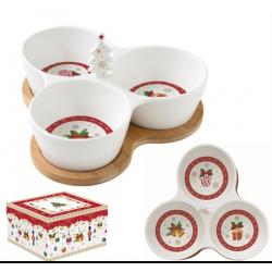 Porcelán kínáló tálka 3 részes karácsonyi